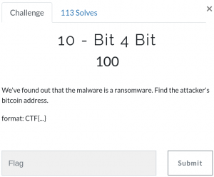 Flag 10 - We've found out that the malware is a ransomware. Find the attacker's bitcoin address.